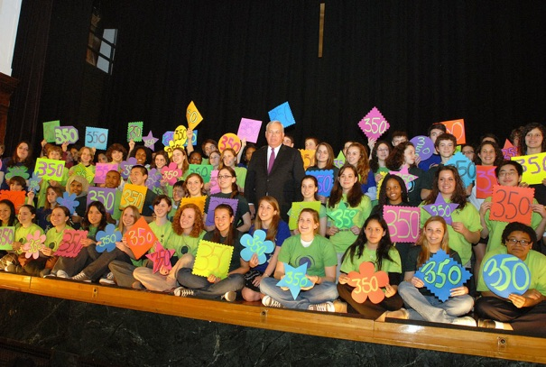 Youth CAN with Mayor Thomas M. Menino, advocating for a return to the more sustainable level of 350 parts per million of carbon in the atmosphere. Image via BLS Youth CAN